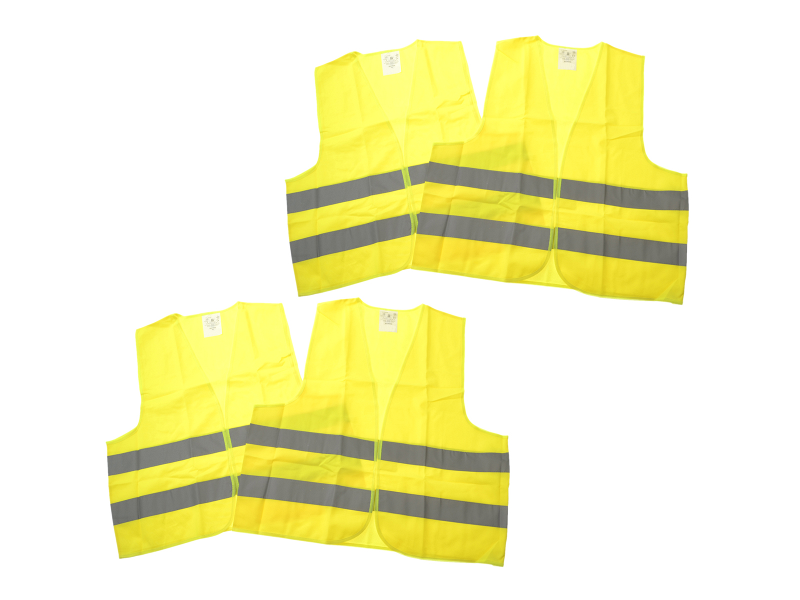 4x Warnwesten KFZ gelb DIN EN ISO 20471 in XL für TÜV-HU
