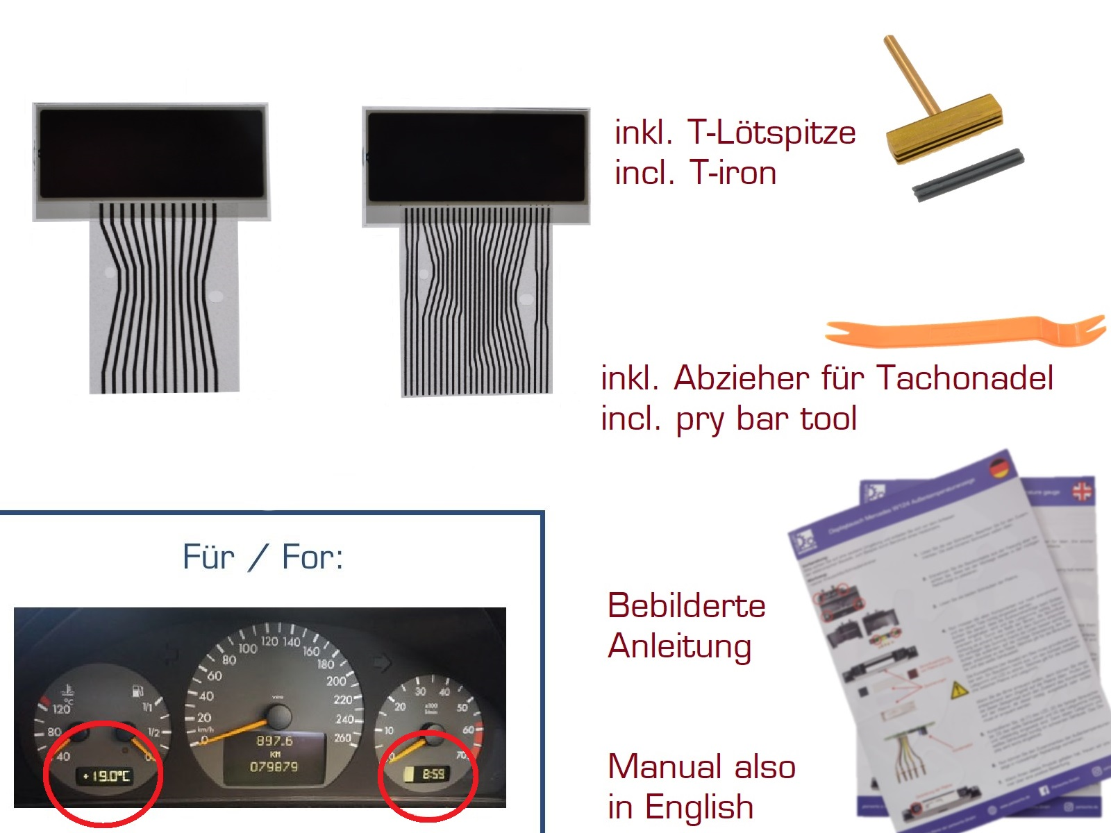 Display Set für Mercedes SLK R170 Kombiinstrument Variante 3