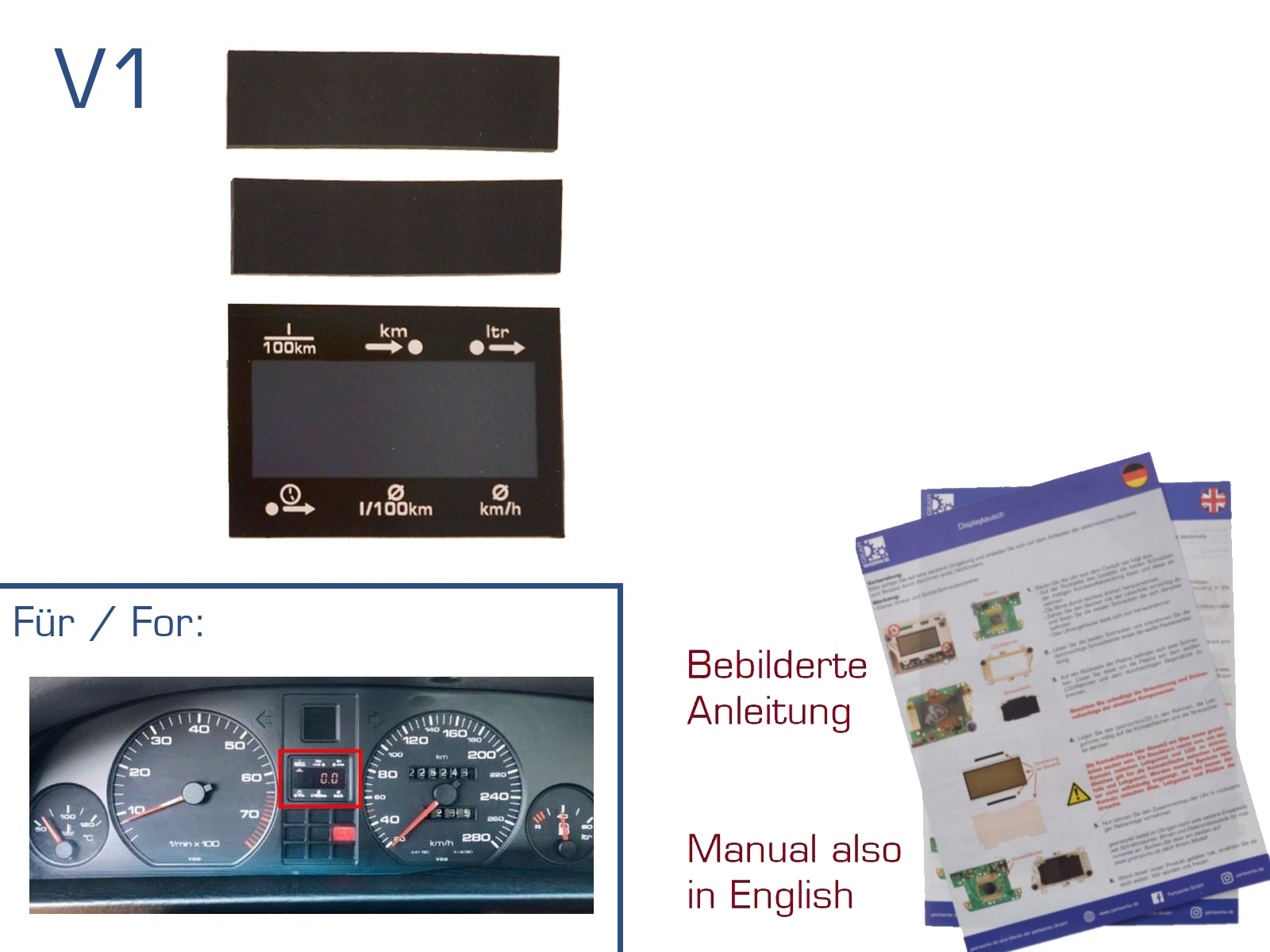 Display für Audi 80/100/200/V8 MFA Reparatur LCD V1