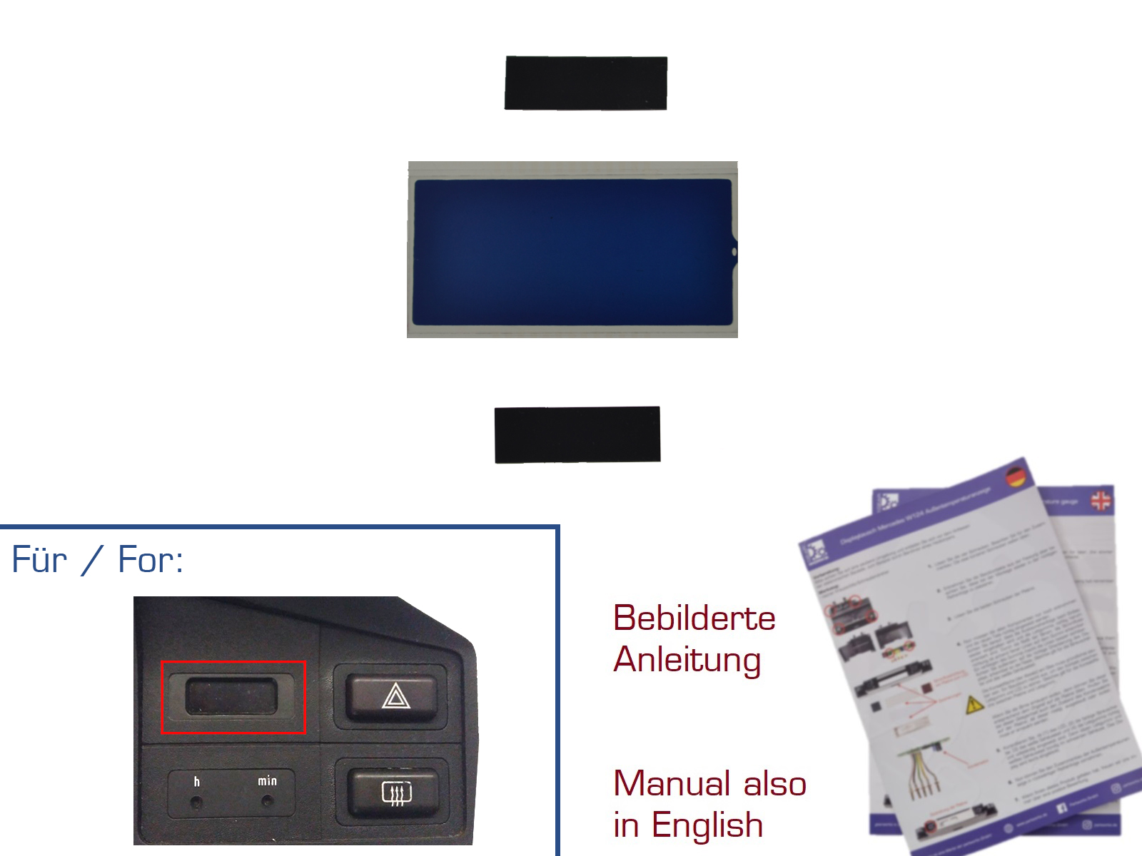 Display für BMW 3er/E30 5er/E28 6er/E24 7er/E23 Digitaluhr DUNKEL