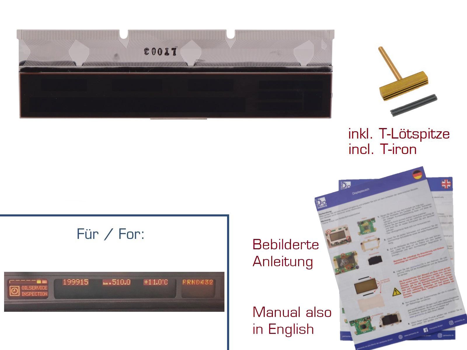 Display für BMW 5er/E39 Kombiinstrument LCD mit Kontaktfolie