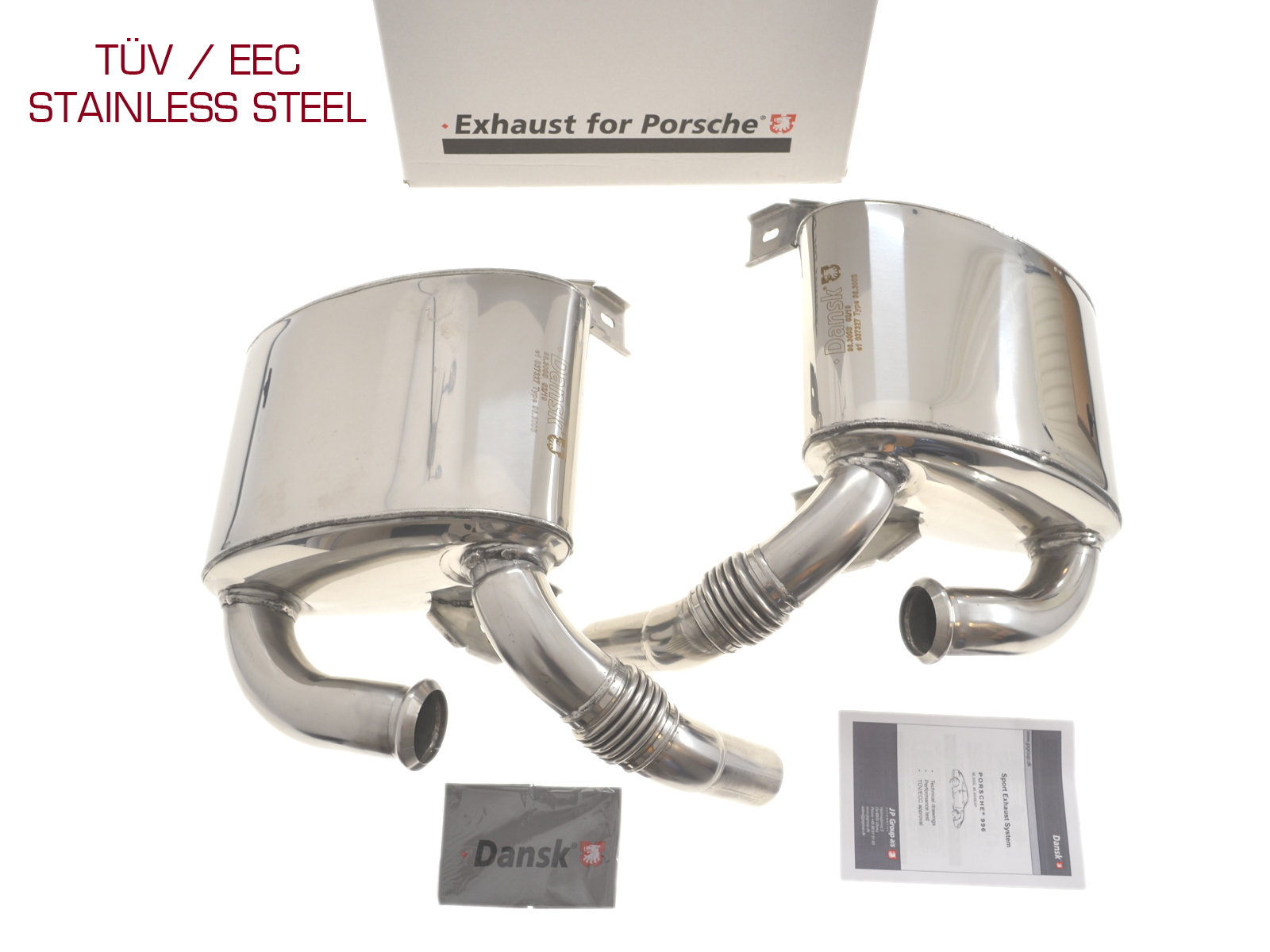 JP rear silencer for Porsche 996 sport exhaust STAINLESS STEEL with TÜV