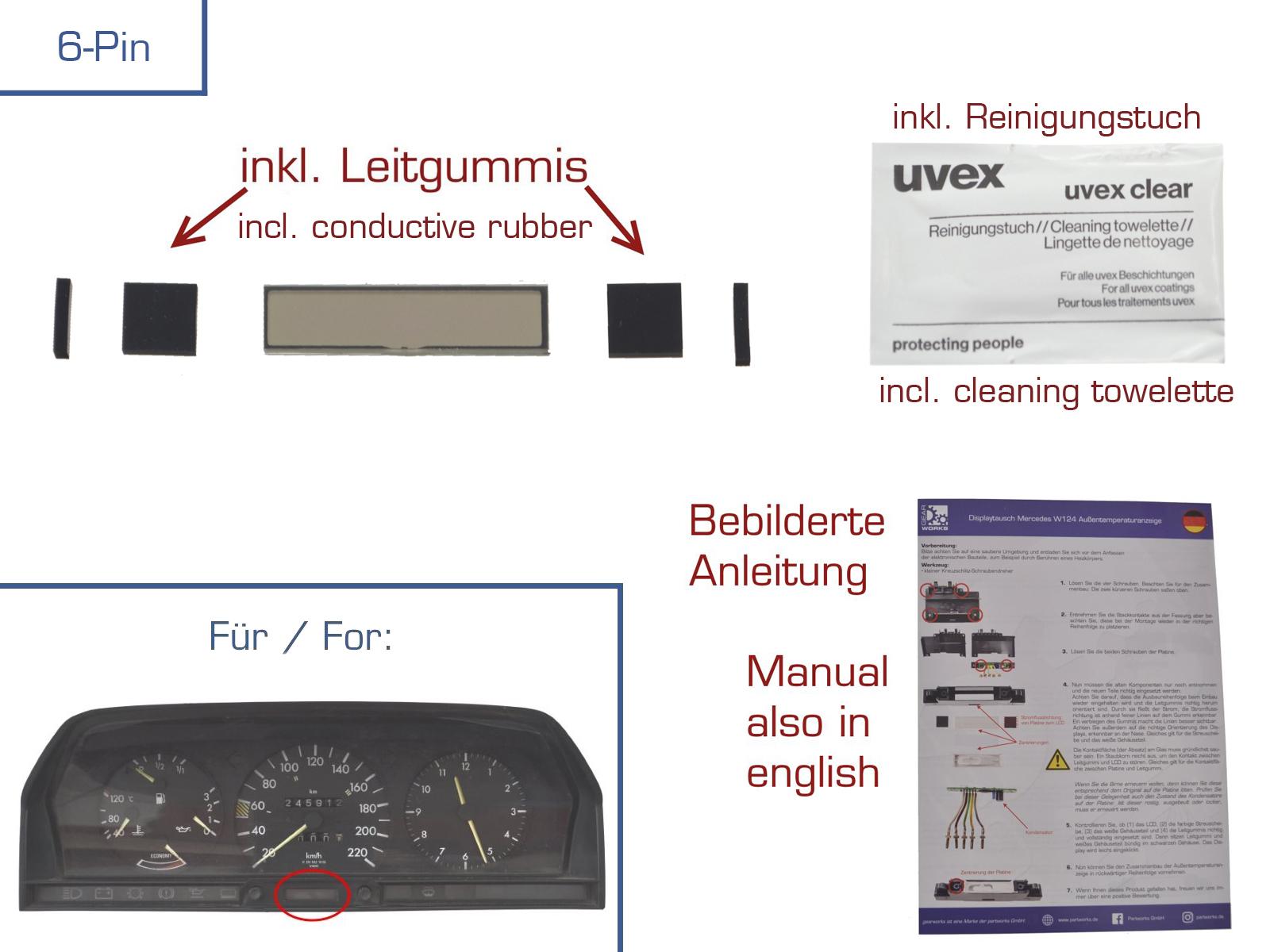 Zahnrad Set f/ür Kombiinstrument//Tacho//Kilometerz/ähler Repararatur inkl Anleitung