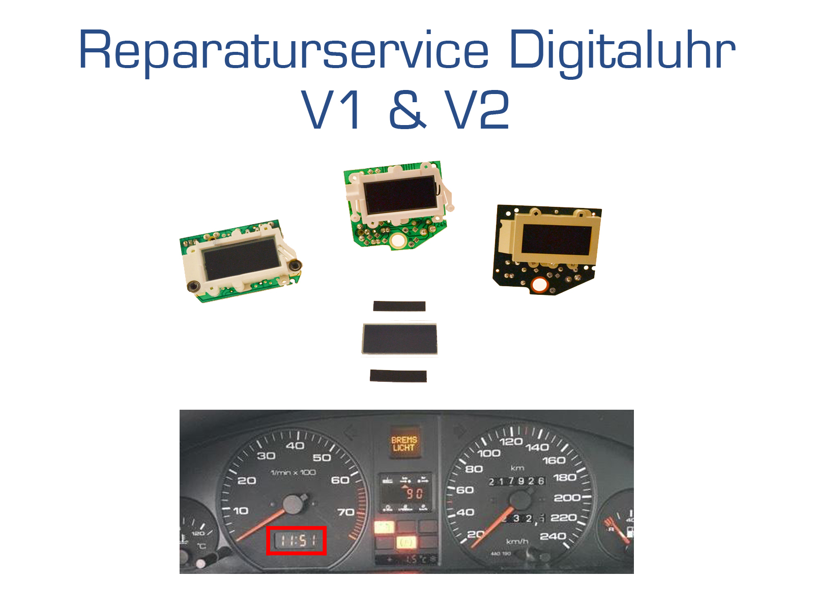 Repair service for Audi 80/100/200/V8 instrument cluster digital clock